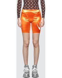 Marine Serre Feminine Shiny Cycling Shorts - Orange