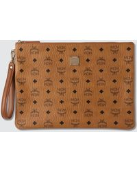 MCM Large Pouch In Visetos Original - Brown