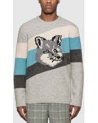 Maison Kitsuné Fox Intarsia Pull - Gray