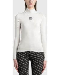 T By Alexander Wang Turtleneck Bodycon Top - White