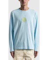 Stone Island Front Logo Long Sleeve T-shirt - Blue