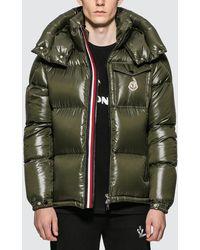 Moncler Nylon Down Jacket With Stripe Zip Detail - Green