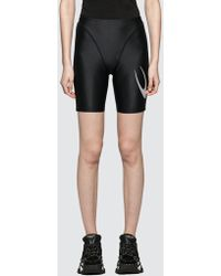 Marine Serre Feminine Shiny Cycling Shorts - Black
