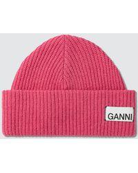 Ganni Knit Beanie - Pink
