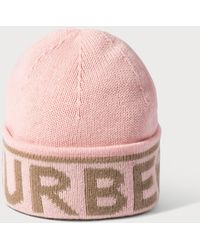 Burberry Logo Intarsia Cashmere Beanie - Pink