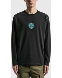 Stone Island Front Logo Long Sleeve T-shirt - Black