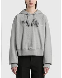 we11done Embroidery Cropped Hoodie - Grey