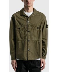 Stone Island Double Pocket Button Over Shirt - Green