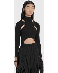 Hyein Seo Jersey Top With Sleeves - Black