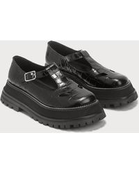 Burberry Embossed Leather T-bar Shoes - Black