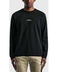 Stone Island Back Logo Long Sleeve T-shirt - Black