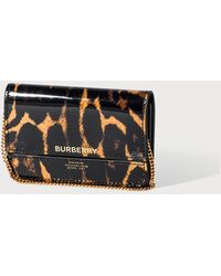 Burberry Leopard Print Leather Card Case With Chain Strap - Brown