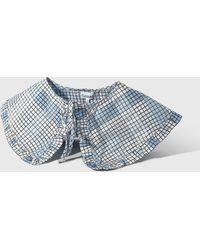 Ganni Seersucker Check Collar - Blue