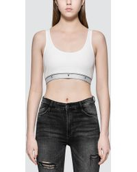 Alexander Wang - Compact Rib Crop Tank With T Logo Elastic - Lyst