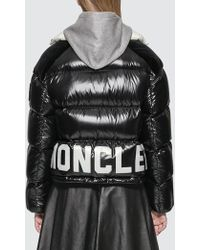 Moncler Down Jacket With White Roll Neck - Black