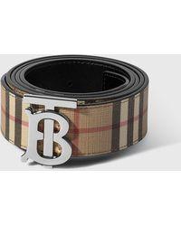 Burberry Reversible Plaque Buckle Vintage Check E-canvas Belt - Natural
