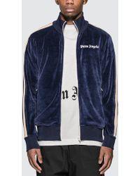 Palm Angels Logo Stripe Zip Track Jacket - Blue
