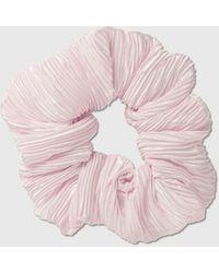 Ganni Pleated Satin Hair Band - Pink