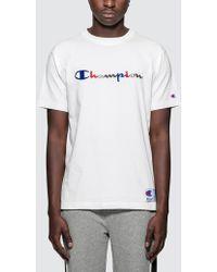 Champion - Tri-color Script Logo S/s T-shirt - Lyst