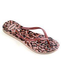 Havaianas Slim Animal Rose Gold Flip Flop - Pink