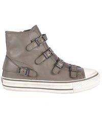 Ash Virgin Bis Perkish Leather Buckled High Top Trainers - Grey
