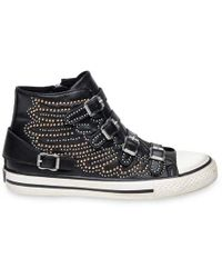 Ash - Verso Black Leather Studded Hi-top Buckle Trainer - Lyst