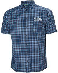 Helly Hansen Fjord Qd Ss Shirt Xxl - Blue