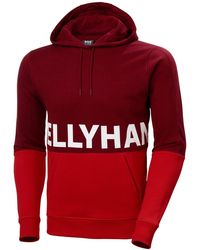 Helly Hansen Men's Active Brushed Fleece Cotton Hoodie | Uk Red