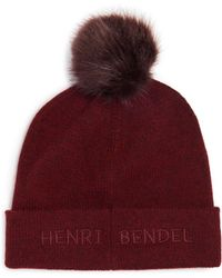 e17e96cd813 Lyst - Henri Bendel Pom-pom Cashmere Ribbed Hat in Natural
