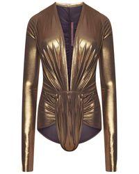 Rick Owens Lilies Gia Bodysuit Gold - Metallic