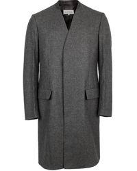 Maison Margiela Collarless Houndstooth Wool Overcoat - Grey
