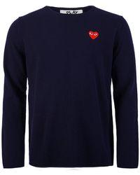 COMME DES GARÇONS PLAY - N068 Red Heart Crew Neck Sweater Navy - Lyst