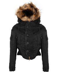 DSquared² Fur Hood Cropped Jacket - Black