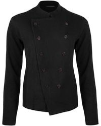 Y's Yohji Yamamoto Double-breasted Stand Collar Cardigan - Black
