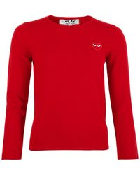 COMME DES GARÇONS PLAY - N068 Red Heart Crew Neck Sweater Red - Lyst