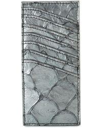 Rick Owens Vertical Pirarucu Leather Card Holder Silver - Multicolour