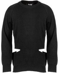 Comme des Garçons Cut-out Detail Rib Knit Jumper - Black