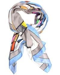 Yazbukey - Artist Watercolour Silk Scarf Blue - Lyst