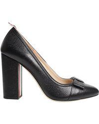 Thom Browne Classic Pebble Grain Bow Heel Black