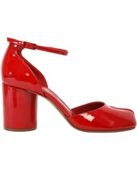 Maison Margiela Patent Leather Tabi Court Shoes - Red
