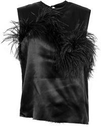 Marques'Almeida Satin Sleeveless Feather Top - Black