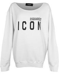 DSquared² Icon Print Boat Neck Sweatshirt White