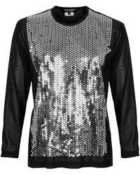 Junya Watanabe Silver Sequin Sheer Top - Black