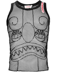 Charles Jeffrey LOVERBOY Embroidered Detail Pict Mesh Vest - Black