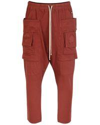 Rick Owens Drkshdw Creatch Cargo Cropped Drawstring Pants Dark Cherry - Red