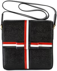 Thom Browne Square Gift Box Leather Bag - Black