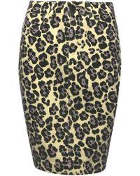 Sibling - Leopard Print Denim Skirt - Lyst