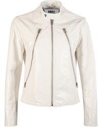 MM6 by Maison Martin Margiela Multi Zip Leather Jacket - White
