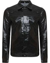Rick Owens Drkshdw Coated Denim Worker Jacket - Black