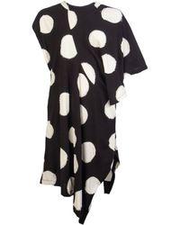 Y's Yohji Yamamoto Polka Dot Asymmetric Draped Shoulder Top - Black